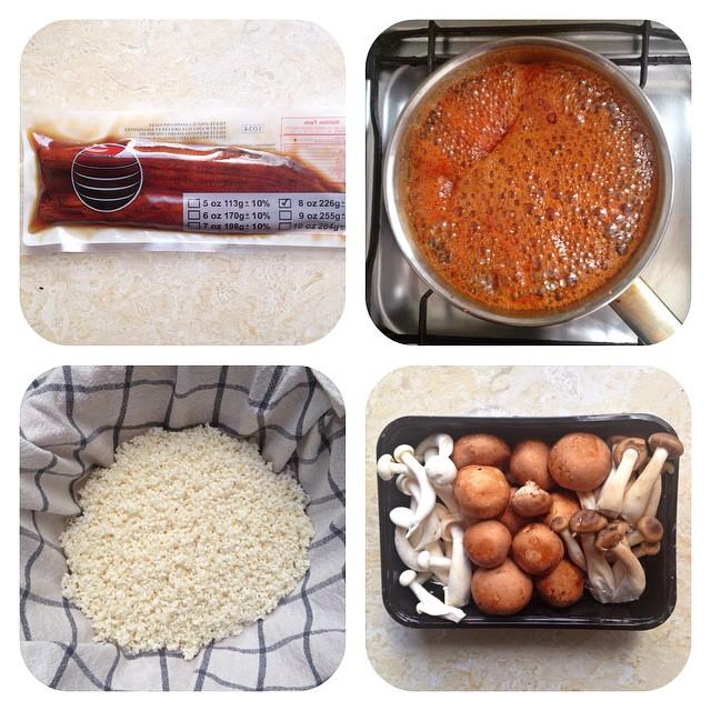 Unadon (unagi kabayaki donburi) y setas para la #cenahanami #comidamarrón